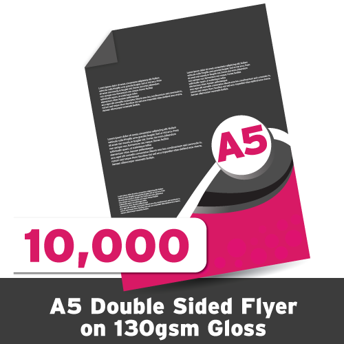A5 Leaflet 130 GSM Gloss Double Sided 10,000