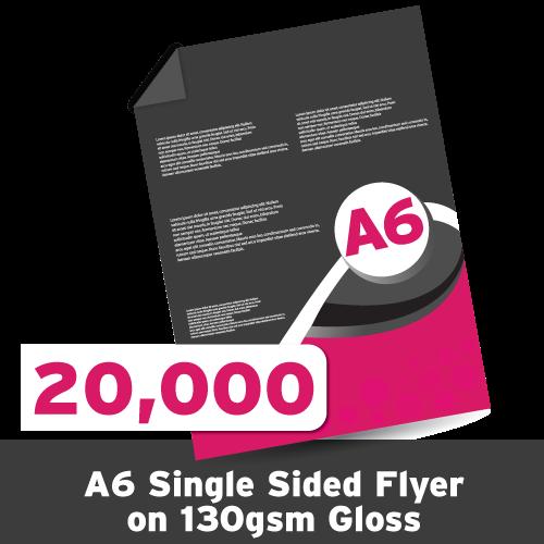 A6 Leaflet 130 GSM Gloss Single Sided 20,000