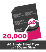 A6 Leaflet 130 GSM Gloss Single Sided 20,000